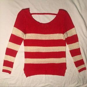 Orange & White Striped Knit Sweater